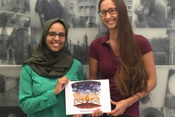 Sarah Hamad and Yenny Martin with their book Potato Pig