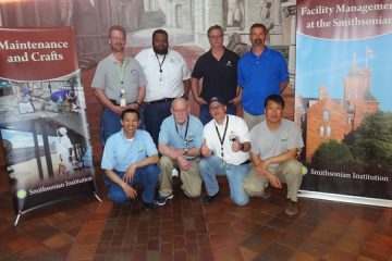 OMFR employees pose for a photo during the end of the National Math Festival