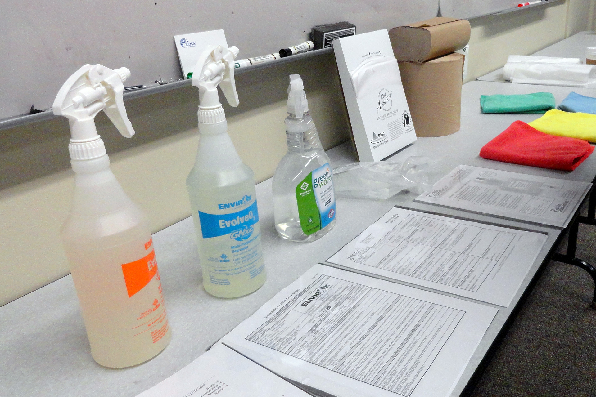 """A table displays the various """"Green Cleaning"""" products"""